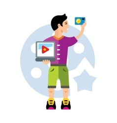 Video blogger flat style colorful cartoon vector