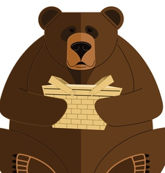 Bear with basket vector