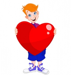 Kid holding heart vector