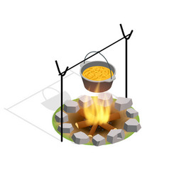 Isometric bonfire burning on firewood in the camp vector