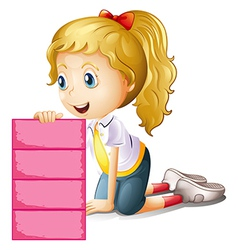 A girl holding an empty pink signage vector