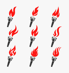 torch symbol set vector image