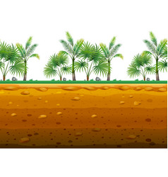 Palm garden on the ground in seamless design vector