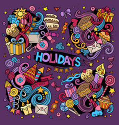 Colorful set of holidays doodles design vector