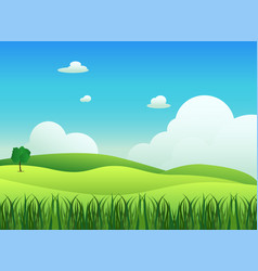 Meadow landscape with grass foreground vector