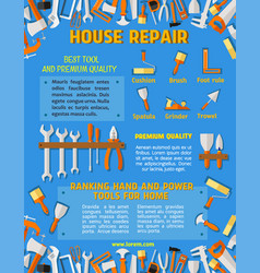Poster template of house repair work tools vector