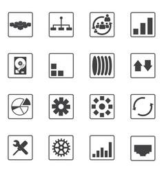 Big data icons set diagram graphs vector