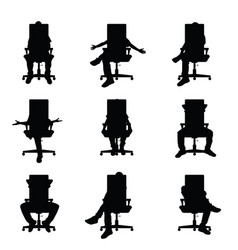 Man silhouette sitting on office chair set vector