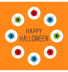 Eyeballs with bloody streaks round frame vector