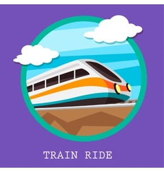 Train railway emblem flat design vector