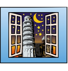 A window on the tower of pisa vector