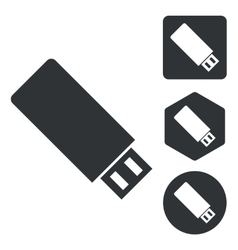 USB stick icon set monochrome vector image