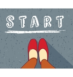 Young woman begin way start line new life vector