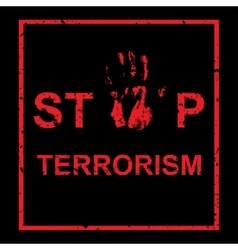 Handprint with inscription stop terrorism vector