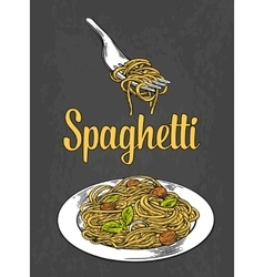 Spaghetti on fork and plate engraving color vector