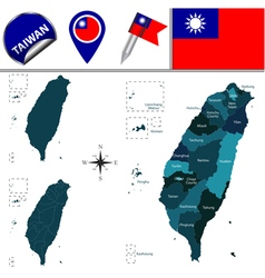 Taiwan map with named divisions vector