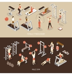 Fitness isometric horizontal banners vector