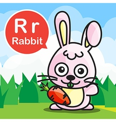 R rabbit color cartoon and alphabet for children vector