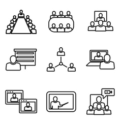 Line conference icons set business vector