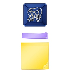 A topview of the paperclips in the container and vector image vector image