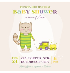 Baby cat with a train - baby shower card vector