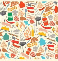 background pattern with barbecue and food icons vector image vector image