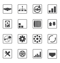 Big data icons set diagram graphs vector