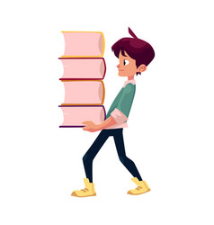 boy holding big pile of school books vector image vector image