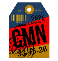 Casablanca airport luggage tag vector