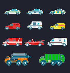 city transport set in flat style different vector image vector image