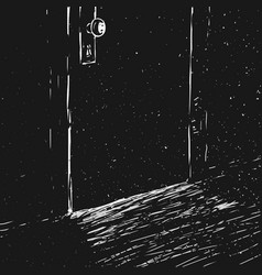 Closed door in the dark room vector