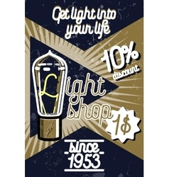 Color vintage lighting shop poster vector image
