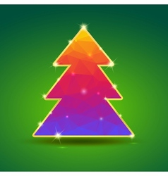 Creative bright christmas tree with gold and vector