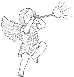 Cupid played trumpet vector
