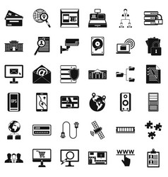 Database protection icons set simple style vector