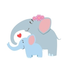 Elephant mom with frower wreath animal parent and vector