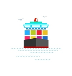 Front view of the cargo container ship vector