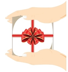 Gift in hand vector image