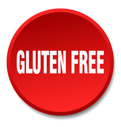 Gluten free red round flat isolated push button vector