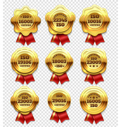 golden certified rosettes gold verify tokens and vector image vector image