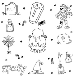 Halloween doodle set flat black and white vector image