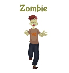 Man dressed in zombie costume for Halloween vector image