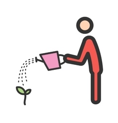 Man watering plant vector
