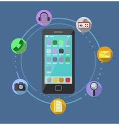 Mobile Phone With Icons Infographic vector image