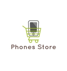 Mobile phones store logotype smartphone in vector