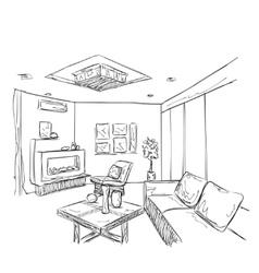 Modern interior room sketch vector image vector image