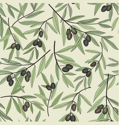 Olive berry seamless pattern olive branch floral vector