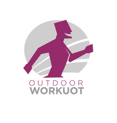 Outdoor workout logo design of silhouette running vector