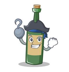 Pirate wine bottle character cartoon vector