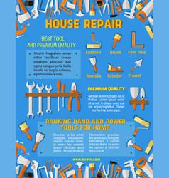 Poster template of house repair work tools vector